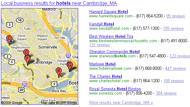 search for [hotels] done from a Boston IP