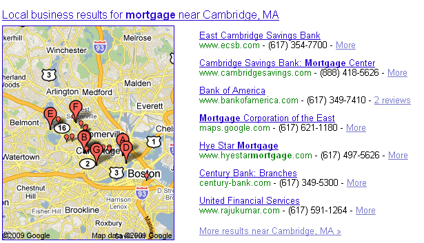 Search for [mortgage], no local modifier