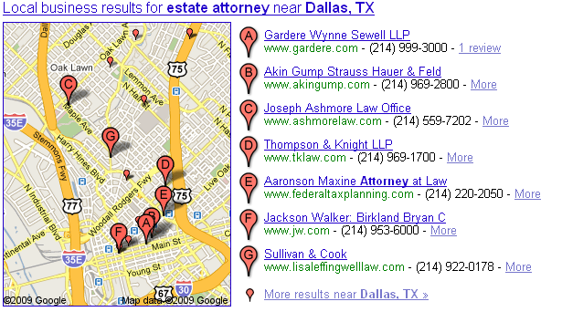 google local pack for estate attorneys in dallas, texas